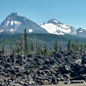 McKenzie Pass view of mountain. Note: low snow pack.